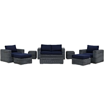 Summon 8 Piece Deep Seating Group with Cushion Fabric: Navy