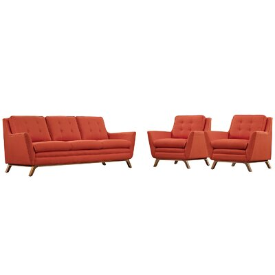 Beguile 3 Piece Fabric Living Room Set Upholstery: Atomic Red