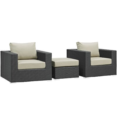 Sojourn 3 Piece Deep Seating Group with Cushion Fabric: Antique Beige