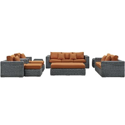 Summon 9 Piece Deep Seating Group with Cushion Fabric: Tuscan