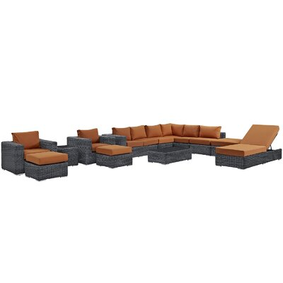 Summon 12 Piece Deep Seating Group with Cushion Fabric: Tuscan