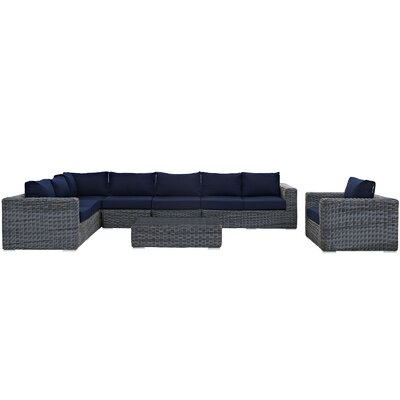 Summon Outdoor Sunbrella� 7 Piece Patio Seating Group with Cushions Fabric: Navy