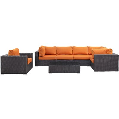 Ryele Outdoor 7 Piece Patio Seating Group with Cushions Fabric: Orange
