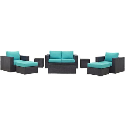 Ryele Outdoor 8 Piece Patio Seating Group with Cushions Fabric: Turquoise