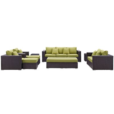 Ryele Outdoor 9 Piece Patio Seating Group with Cushions Fabric: Peridot