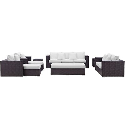 Ryele Outdoor 9 Piece Patio Seating Group with Cushions Fabric: White