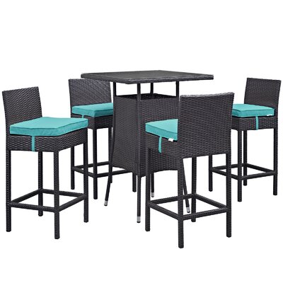 Ryele Contemporary 5 Piece Bar Set with Cushions