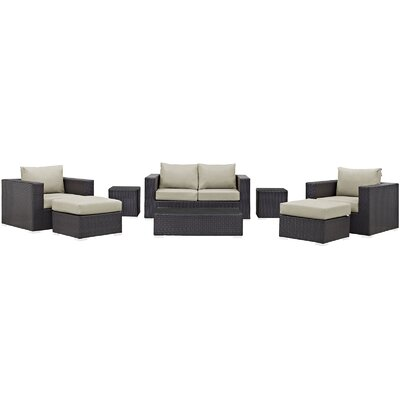 Convene Outdoor 8 Piece Patio Seating Group with Cushions Fabric: Beige