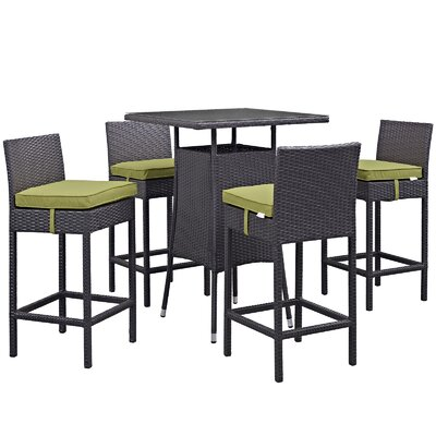 Ryele Contemporary 5 Piece Bar Set with Glass Table Top