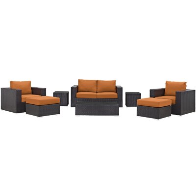 Ryele Outdoor 8 Piece Patio Seating Group with Cushions Fabric: Orange