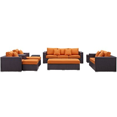 Ryele Outdoor 9 Piece Patio Seating Group with Cushions Fabric: Orange
