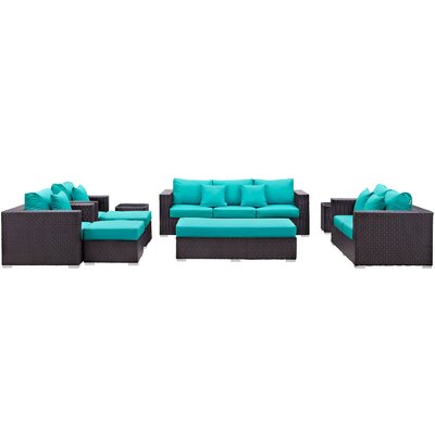 Ryele Outdoor 9 Piece Patio Seating Group with Sunbrella Cushions Fabric: Turquoise
