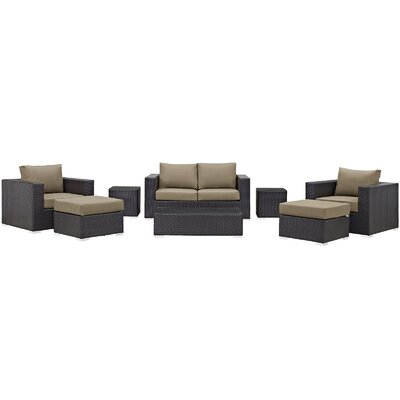 Convene Outdoor 8 Piece Patio Seating Group with Cushions Fabric: Mocha