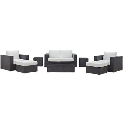 Ryele Outdoor 8 Piece Patio Seating Group with Cushions Fabric: White