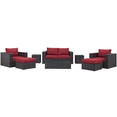 Ryele Outdoor 8 Piece Patio Seating Group with Cushions Fabric: Red