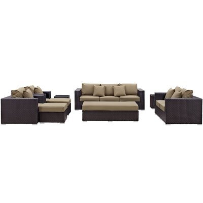 Ryele Outdoor 9 Piece Patio Seating Group with Cushions Fabric: Mocha