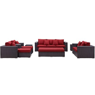 Ryele Outdoor 9 Piece Patio Seating Group with Cushions Fabric: Red