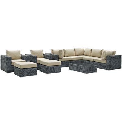 Summon 10 Piece Deep Seating Group with Cushion Fabric: Antique Beige