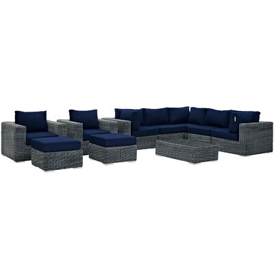 Summon 10 Piece Deep Seating Group with Cushion Fabric: Navy