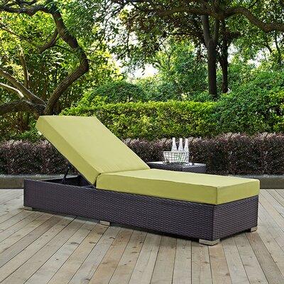 Modway Convene Chaise Lounge with Cushion - Fabric: Peridot