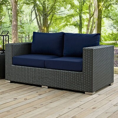 Sojourn Loveseat with Cushions Fabric: Navy