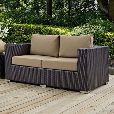 Anika Patio Loveseat with Cushions Fabric: Mocha