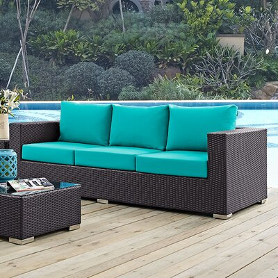 Ryele Sofa with Cushions Fabric: Turquoise