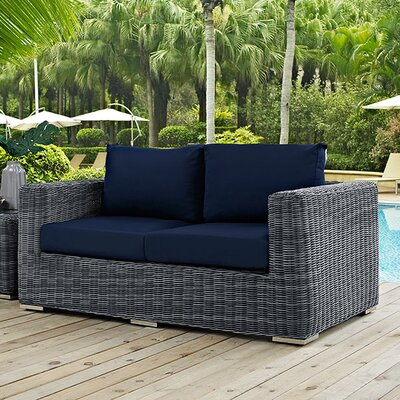 Summon Loveseat with Cushions Fabric: Navy