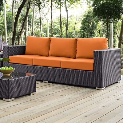 Ryele Sofa with Cushions Fabric: Orange