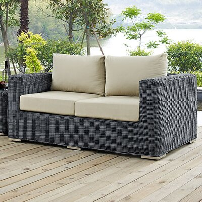 Summon Loveseat with Cushions Fabric: Antique Beige