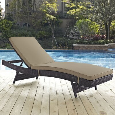Ryele Aluminum Framed Chaise Lounge with Cushion Fabric: Mocha