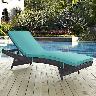 Ryele Aluminum Framed Chaise Lounge with Cushion Fabric: Turquoise