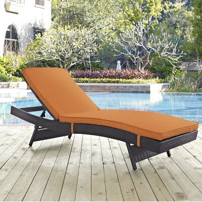 Ryele Aluminum Framed Chaise Lounge with Cushion Fabric: Orange