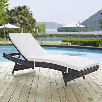 Ryele Aluminum Framed Chaise Lounge with Cushion Fabric: White