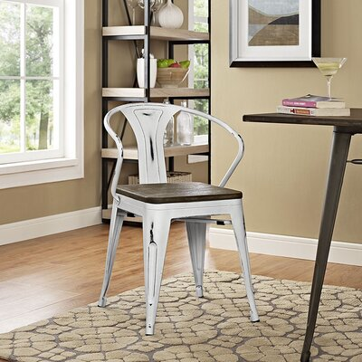Ashlyn Arm Chair with Slat Back Finish: White