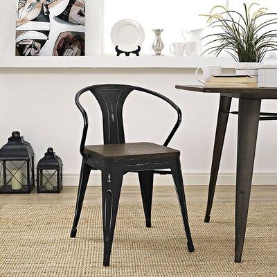 Ashlyn Arm Chair with Slat Back Finish: Black