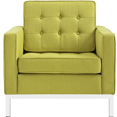 Gayatri Metal Fabric Armchair Color: Wheatgrass
