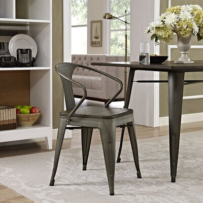 Ashlyn Arm Chair with Slat Back Finish: Brown