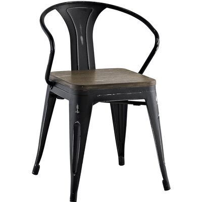 Ashlyn Arm Chair with Slat Back Finish: Black