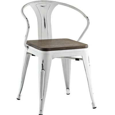 Ashlyn Arm Chair with Slat Back Finish: White