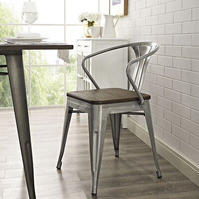 Ashlyn Arm Chair with Slat Back Finish: Gunmetal