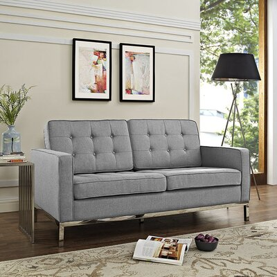 Gayatri Loveseat Upholstery: Light Gray