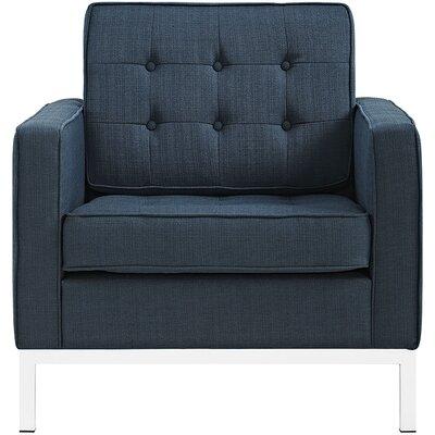 Gayatri Metal Fabric Armchair Color: Azure