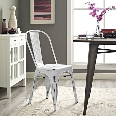Ashlyn Metal Side Chair Finish: White