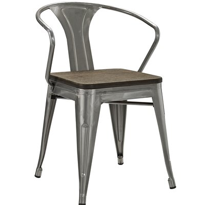 Ashlyn Arm Chair with Slat Back Finish: Gunmetal