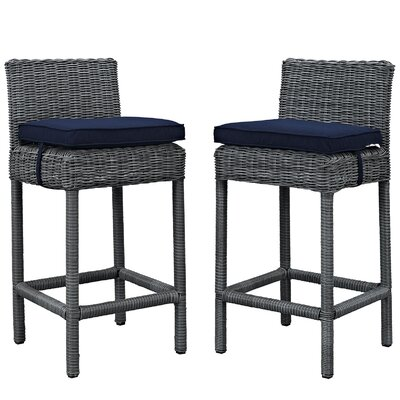 Summon 28 Bar Stool Upholstery: Navy