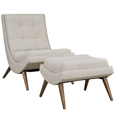 Ramp Lounge Chair and Ottoman Upholstery: Sand