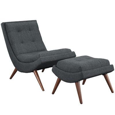 Ramp Fabric Lounge Chair and Ottoman Color: Gray
