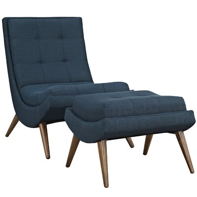 Ramp Fabric Lounge Chair and Ottoman Color: Azure