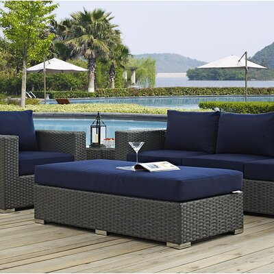 Sojourn Ottoman with Cushion Fabric: Navy
